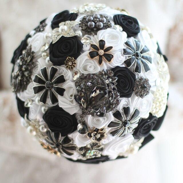 Black White Wedding Bouquet Benutzerdefinierte Rosen Bouquet Braut