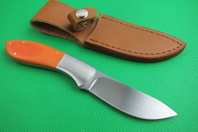 ФОТО Japan 440J2 Steel Hunting Straight Knife Camping Knife Fixed Blade Tactical Survival knives G10 Handle Orange 3021#