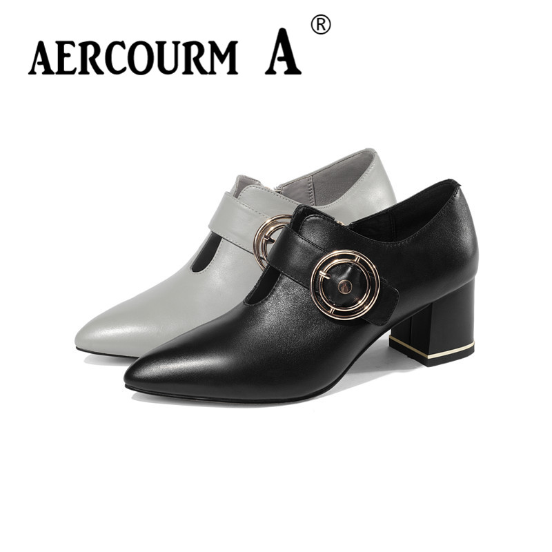 цена на Aercourm A 2019 Women Cow Leather Shoes Girl Solid Office Shoes Square Middle Heel Women Metal Buckle Pumps Shoes Big Size 34-43