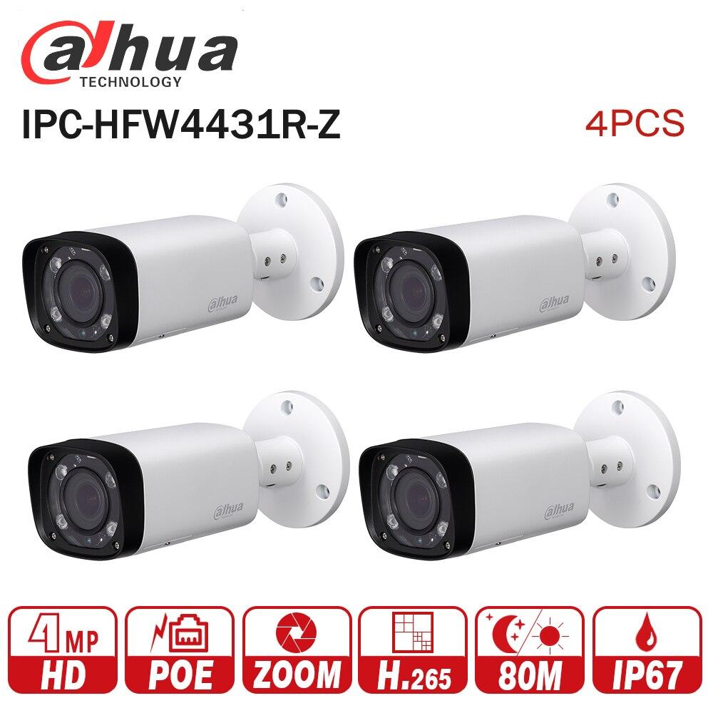 Dahua IPC-HFW4431R-Z 4pcs/lot 4mp Network IP Camera 2.7-12mm VF lens Auto Focus 80m IR Bullet Security POE for CCTV system dahua 4mp poe cctv camera ipc hfw4431r z 2 8 12mm varifocal motorized lens english firmware ir network ip bullet camera