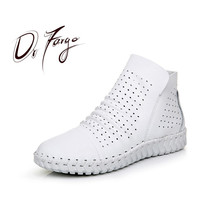 DRFARGO Summer Shoes Women Genuine Leather Ankle Boots side zip super soft sole Breathable Chaussure Femme White Grey size 35-40
