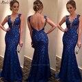 Longo v neck backless laço azul sereia vestidos 2016 andar de comprimento vestido maxi vestido vestido de festa
