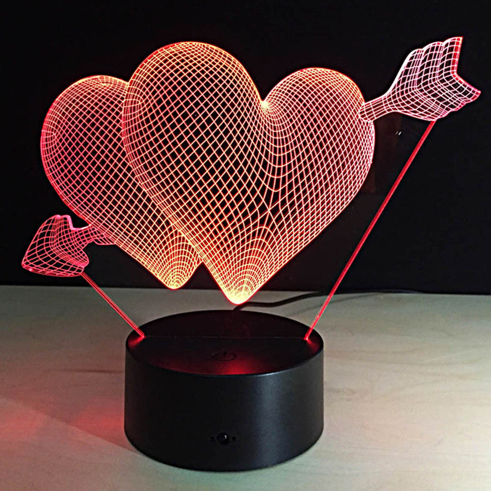An Arrow Through The Heart Model Crafts 7 Colours Changing Atmosphere Gradient Visual Night Light Illusion Lamp Festival Lantern