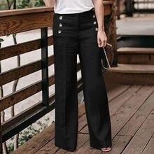дешево!  2019 новинка женские хлопчатобумажные и льняные брюки сплошной цвет повседневная высокая талия широк