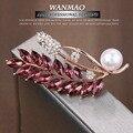 Alta-grau artificial embutidos imitação de diamante broche de flor broche de pérolas cheia de pérola folha broche