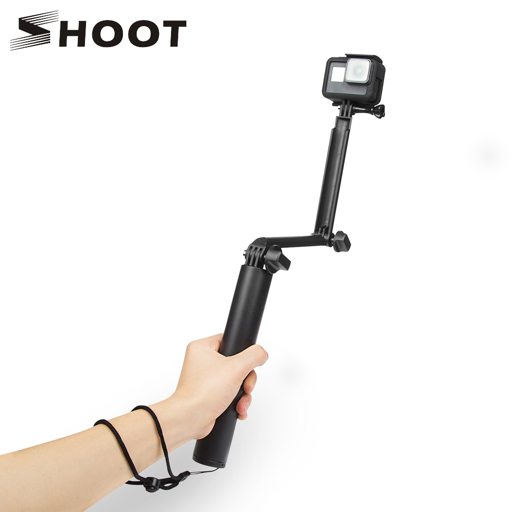 SHOOT 3 Way Grip Vanntett Monopod Selfie Stick For Gopro Hero 7 6 5 Svart Session Xiaomi Yi 4K SJ4000 Kamera Stativ Tilbehør
