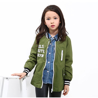 Spring Girls Jacket Kids Letter Baseball Long Sleeves Coat Autumn ArmyGreen Color Pilots Style Clothing For