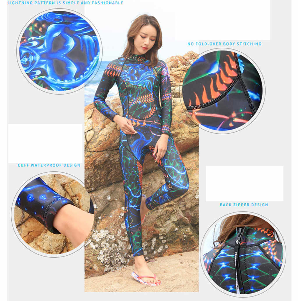 Womail moda 3mm tek parça dalgıç kıyafeti kadın uzun kollu dalış mayo sıcak güneş koruyucu sörf giyim