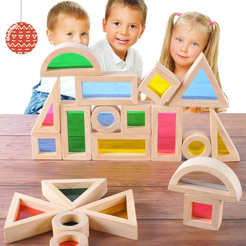24pcs Acrylic Rainbow Educational Toy Tower Pile Kids Wooden Toy Building Block Toys For Children Building Blocks стоимость