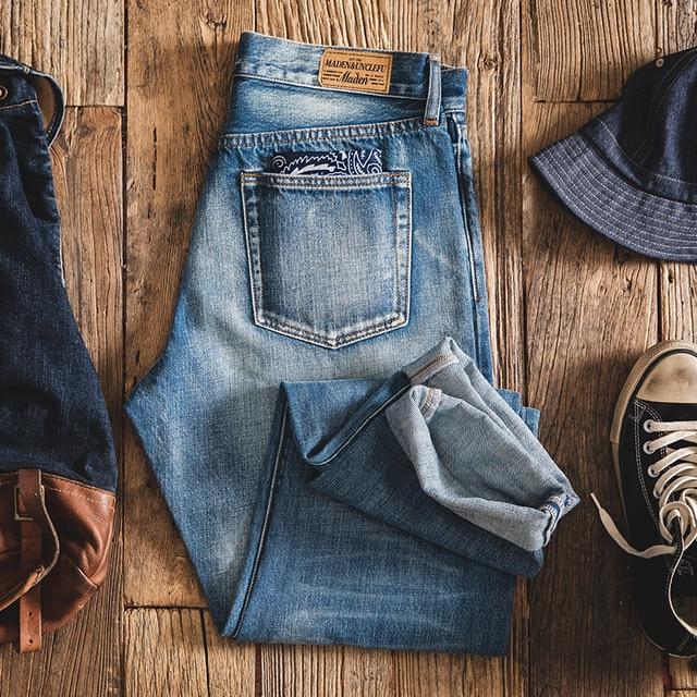 MADEN Men's Washed Regular Straight Fit Jeans with Pocket Square Black Light Blue