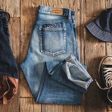 Мужские потертые прямые джинсы MADEN, черные светло голубые джинсы с квадратным карманом