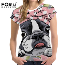 FORUDESIGNS T Shirt Women Cartoon Boston Terrier Printing T-shirt Teenagers Bowtie Pattern Tee for Girls Pink Kawaii Tops