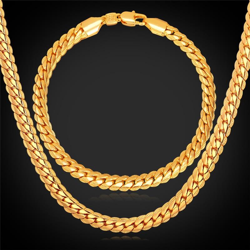 Long Necklace And Bracelet Set For Men Jewellery Set New Gold