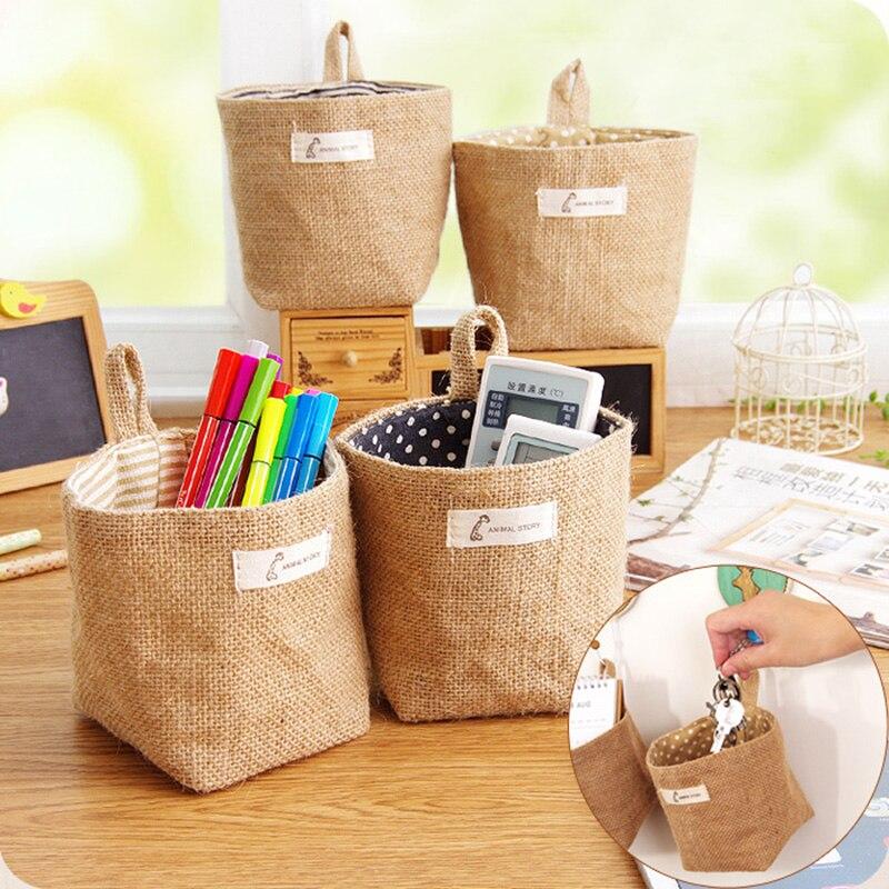 Cotton Linen Desktop Storage Basket Sundries Storage Box Small Cute Storage Basket Space-Saving Storage Bags makeup Organizer