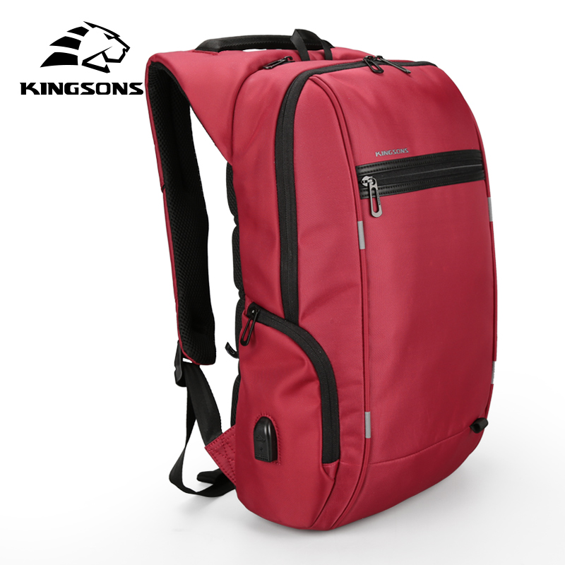 2018 Kingsons 15 17 Laptop Backpack External USB Charge Computer Backpacks Anti theft Waterproof Bags for