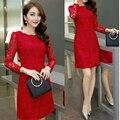 Señoras elegante rojo blanco negro otoño dress túnica de las mujeres oficina de encaje bodycon vestidos de partido plus size dress women casual vestidos