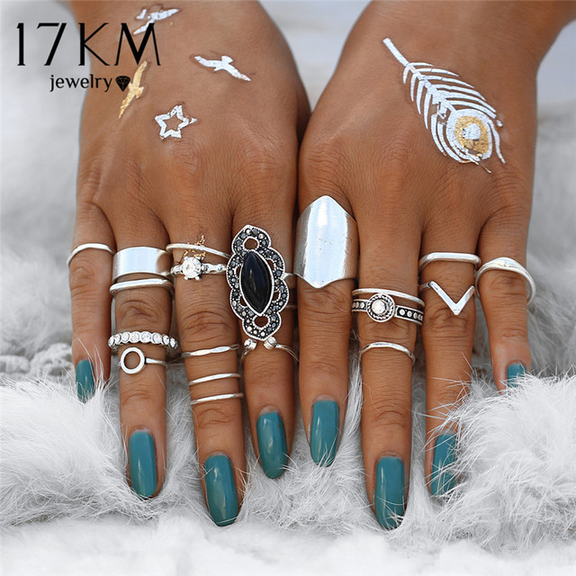 17KM Boho Vintage Black Stone Knuckle Ring Set For Women Anillos Crystal Heart Crown Midi Bohemian Rings Party Jewelry Gift