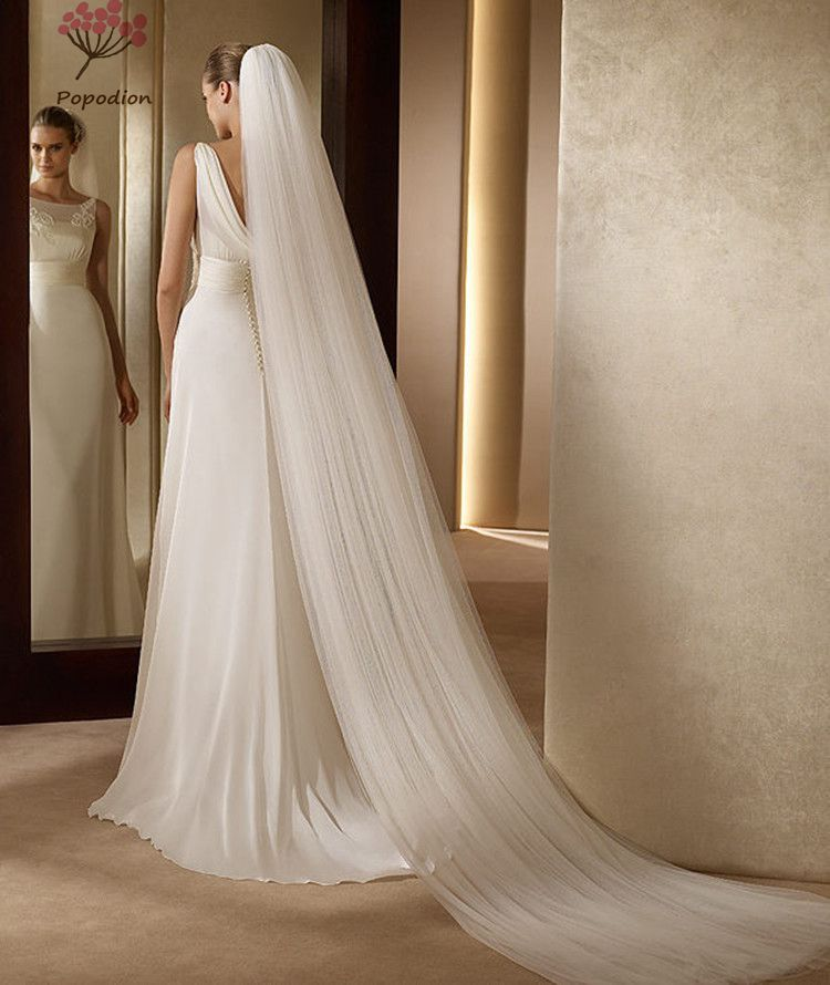 Buy white 3 m long trailing 3 layer for Long veil wedding dresses