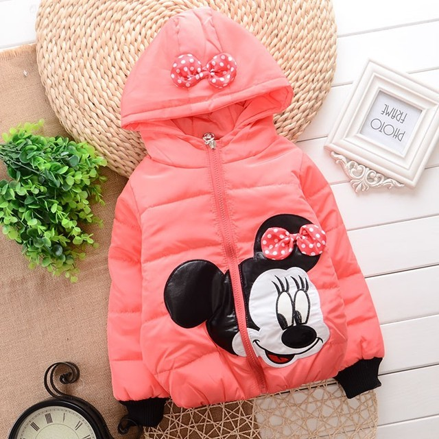 Promotion 2015 New  Winter Baby Girl Snowsuit Cartoon Mickey Design Infant Girls Down Coat A337