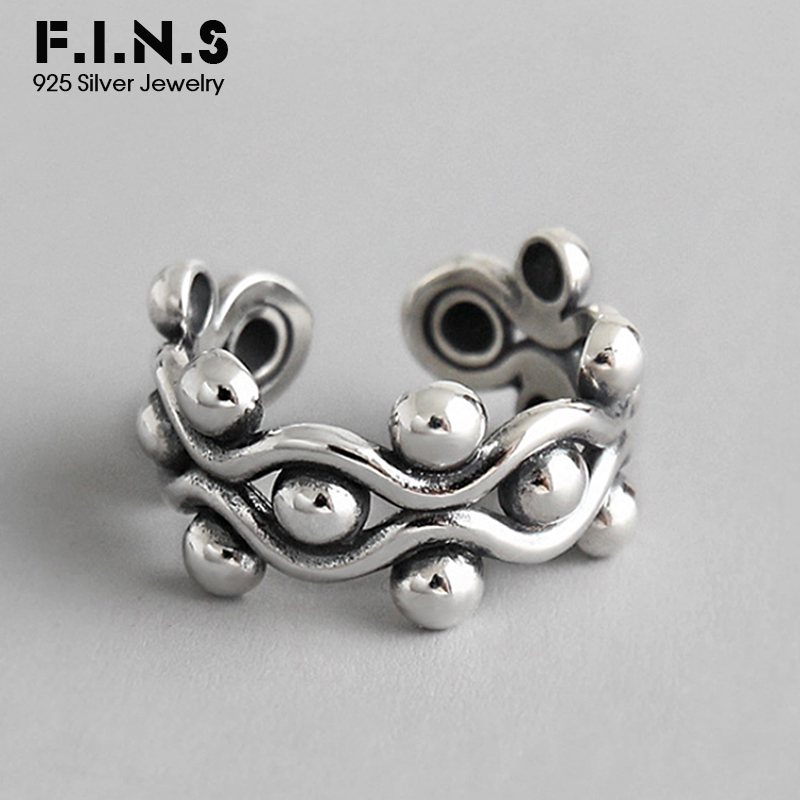 F I N S Layered Weaving Round Beads 925 Sterling Silver Rings For Women Fine Jewelry Fashion Open Vintage Finger Ladies Ring in Rings from Jewelry Accessories