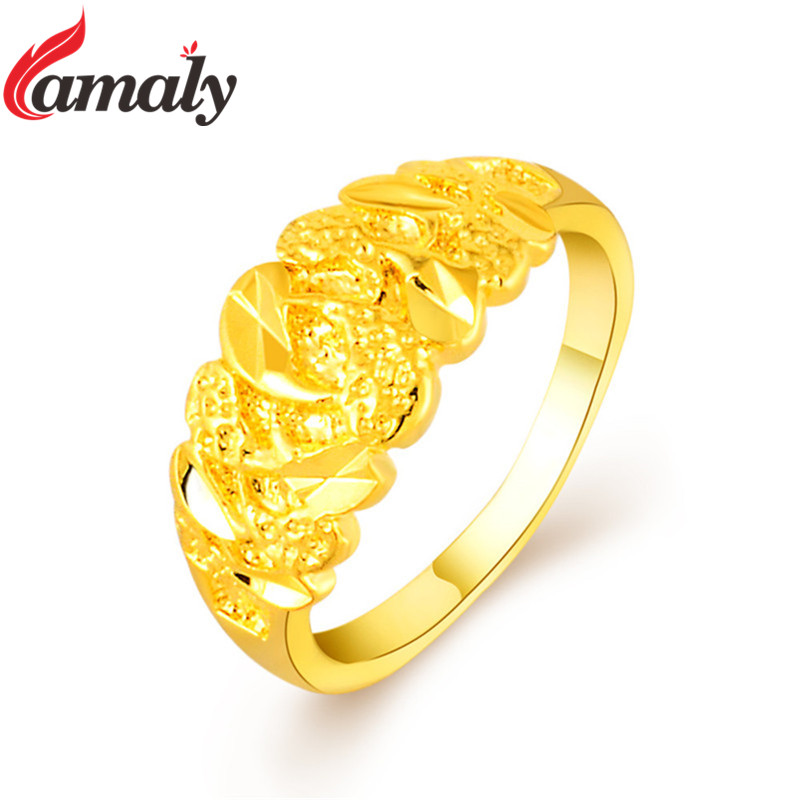 Dubai Golden Finger Rings Women\'s Pure Gold Color Engagement Ring ...