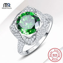 Elegant AAA Green Zircon 100 925 Sterling Sliver Ring Engagement Wedding Party Ring Jewlery Size 6