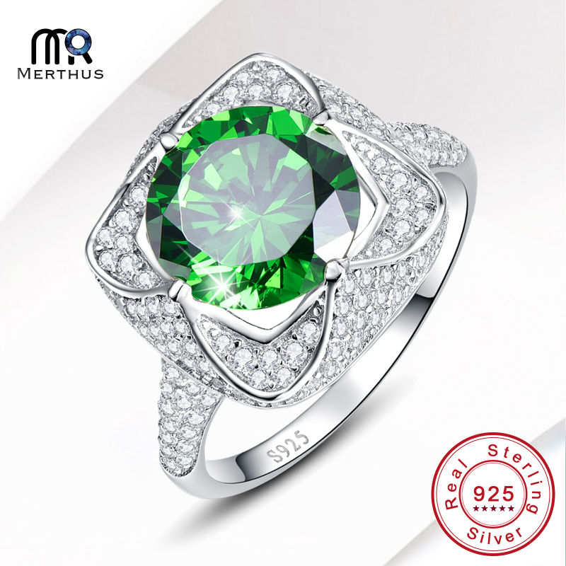 Elegant AAA Green Zircon 100 925 Sterling Sliver Ring Engagement Wedding Party Ring font b Jewlery