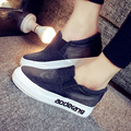 2017 denim casual women shoes inside height increasing letters rubber sole canvas shoe lady fashion slip on