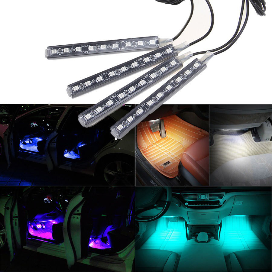 buy 4 in 1 car interior floor decorative lights 9 led atmosphere lighting lamp. Black Bedroom Furniture Sets. Home Design Ideas