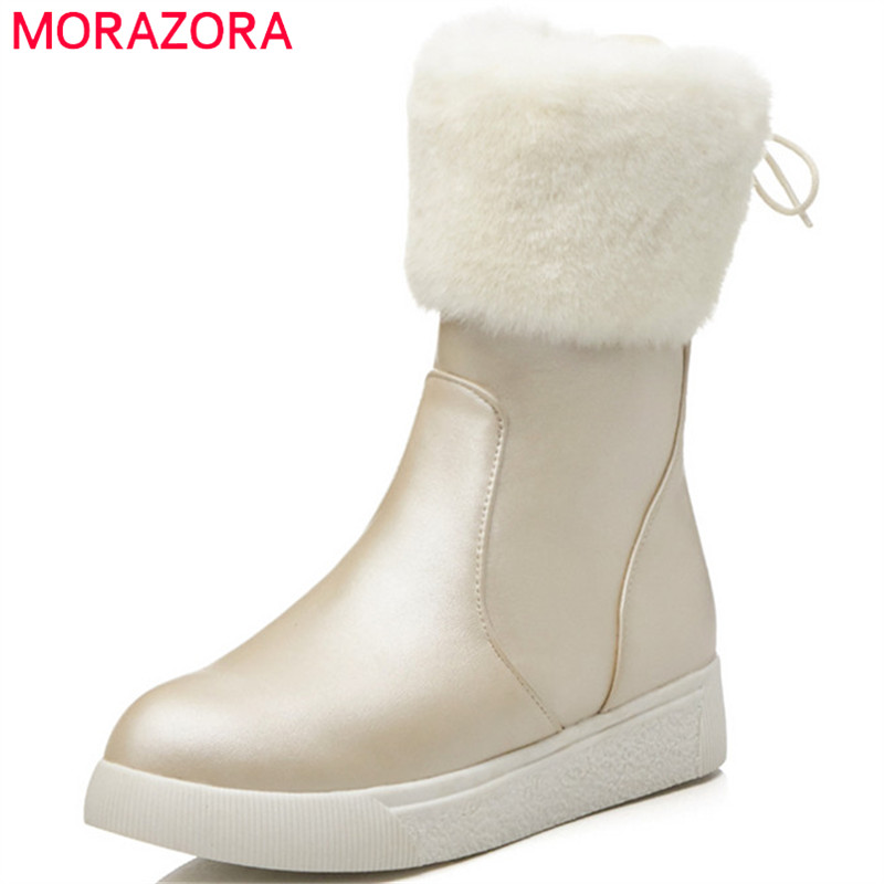 MORAZORA 2018 hot sale winter ankle boots for women round toe simple zip comfortable flat shoes fashion keep warm snow bootsMORAZORA 2018 hot sale winter ankle boots for women round toe simple zip comfortable flat shoes fashion keep warm snow boots