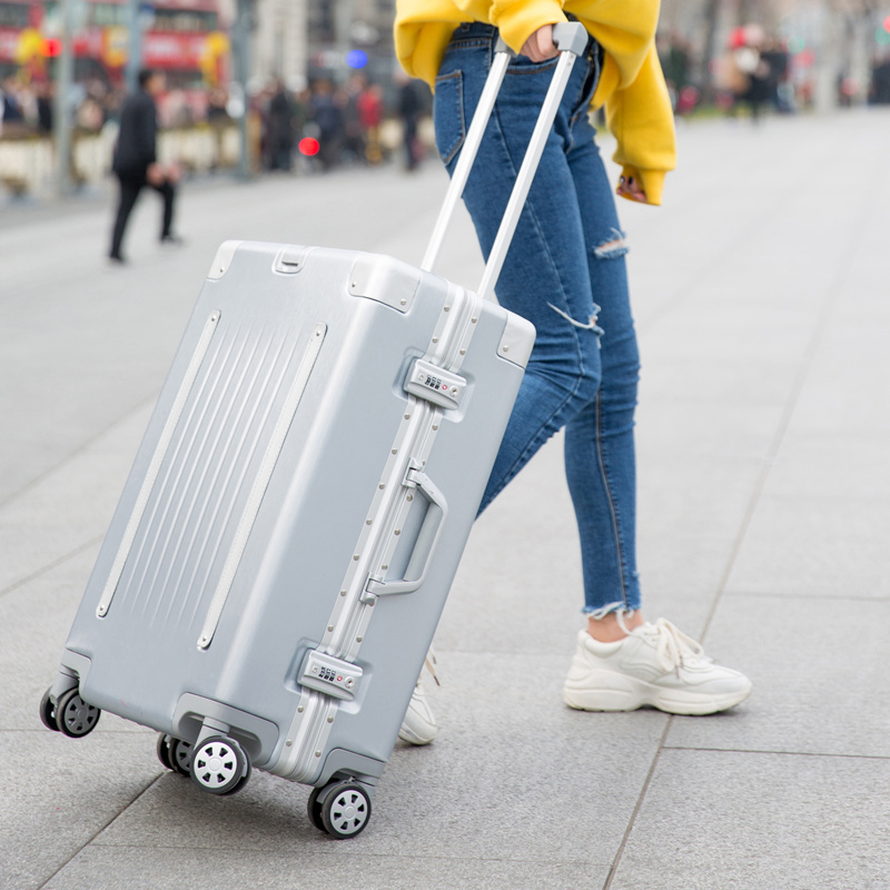 2018 New Belt aluminum frame trolley case pull rod suitcase 20/24/26/29 inch Vintage Travel suitcase ABS+PC luggage pull rod box wholesale retro abs pc hardside case aluminum alloy frame 26 inch luggage on universal wheels high quality tsa lock trolley box