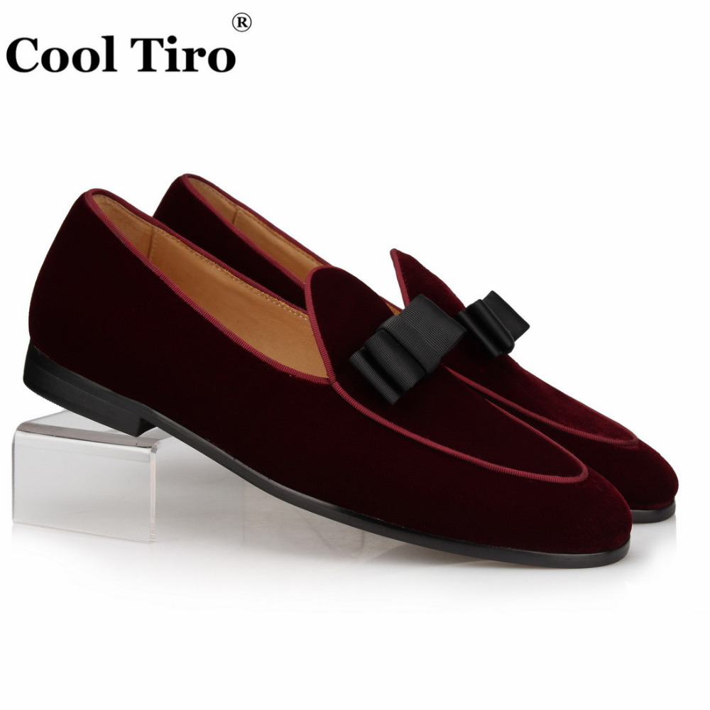 Burgundy Velvet Loafers With Bow Moccasins Men Slippers Wedding Men s Dress Shoes Gentlemen Casual Flats