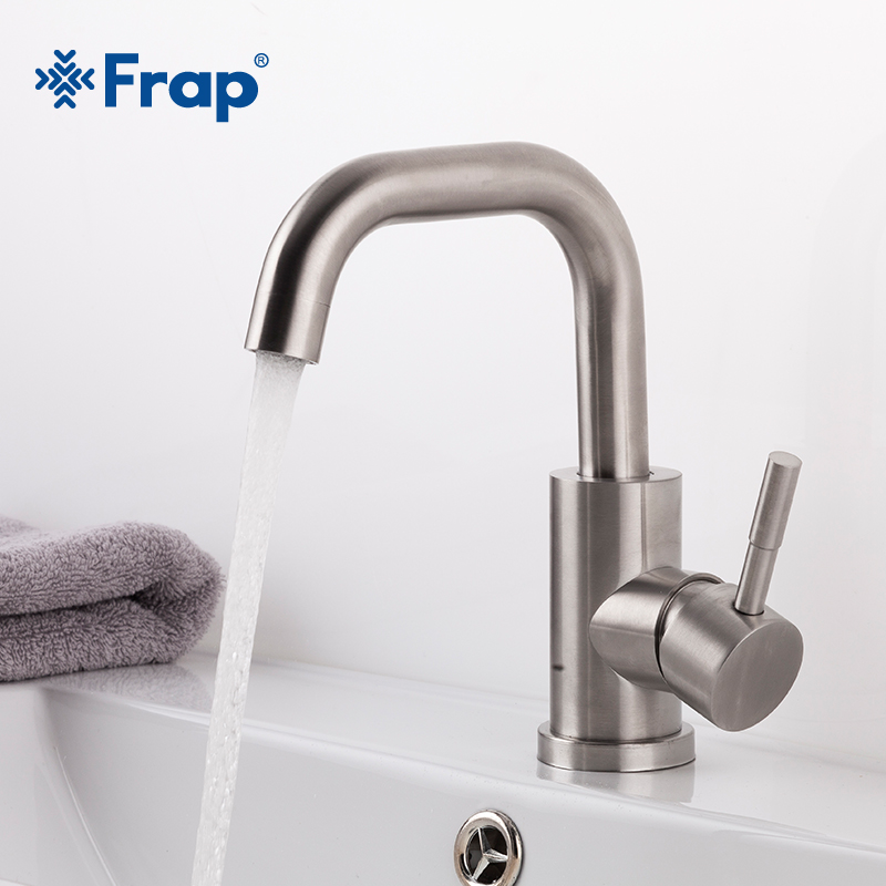 Frap High Quality 304 Stainless Steel Bathroom Sink Faucets Deck Mounted Waterfall Single Hole Mixer Taps