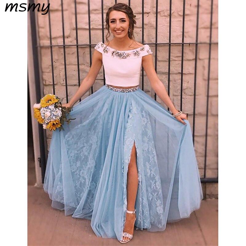 Elegant   Evening     Dresses   A-Line Floor Length Two Pieces Off Shoulder Side Split   Evening   Gowns Custom Made Vestido de noche
