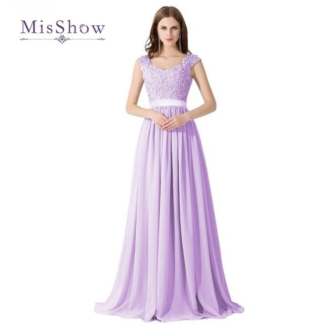 MisShow 7 Colors Elegant Real A Line Appliques Lace Long Lilac Bridesmaid Dresses 2017 Sexy Unique Back Wedding Party