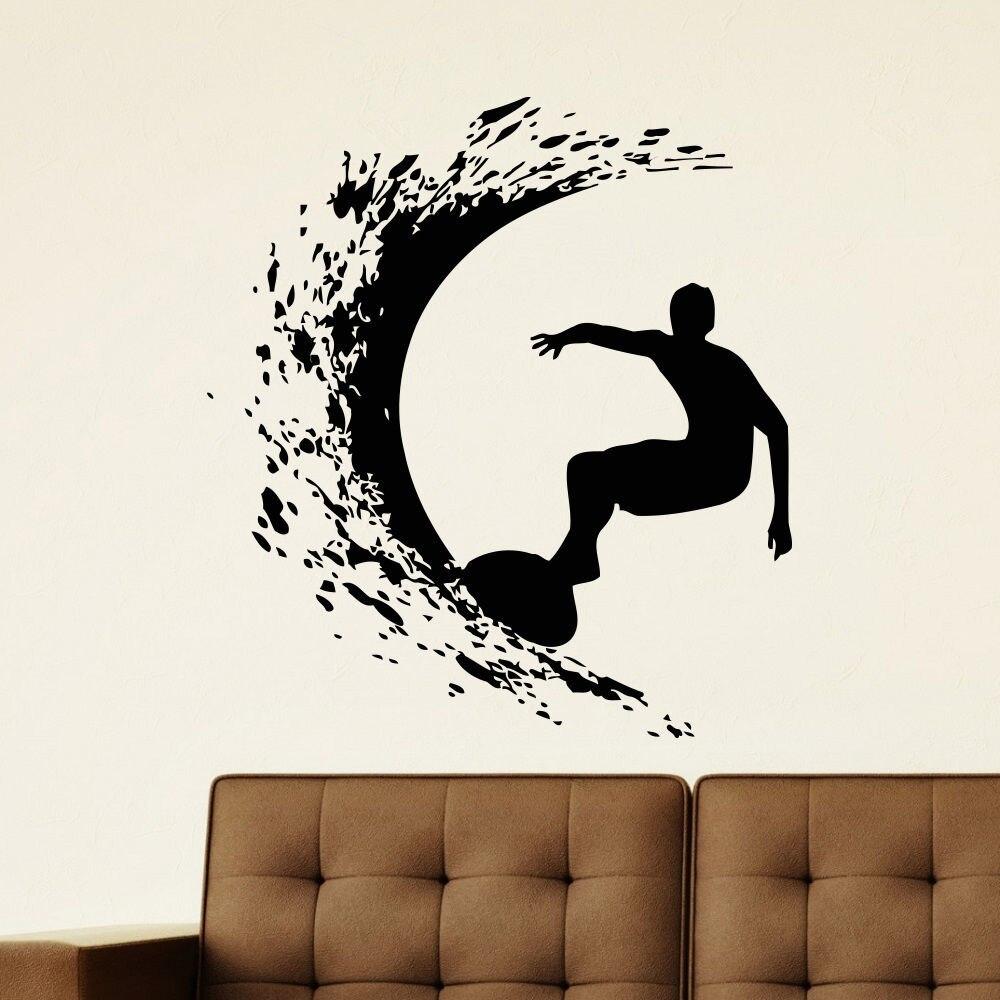 a4d4fe716 Esporte Oceano Surf Prancha de Vinil Adesivo de Parede Menino Suring Mural  Vinyl Decal boy Quarto Removível Decoração de Casa em Adesivos de parede de  Home ...
