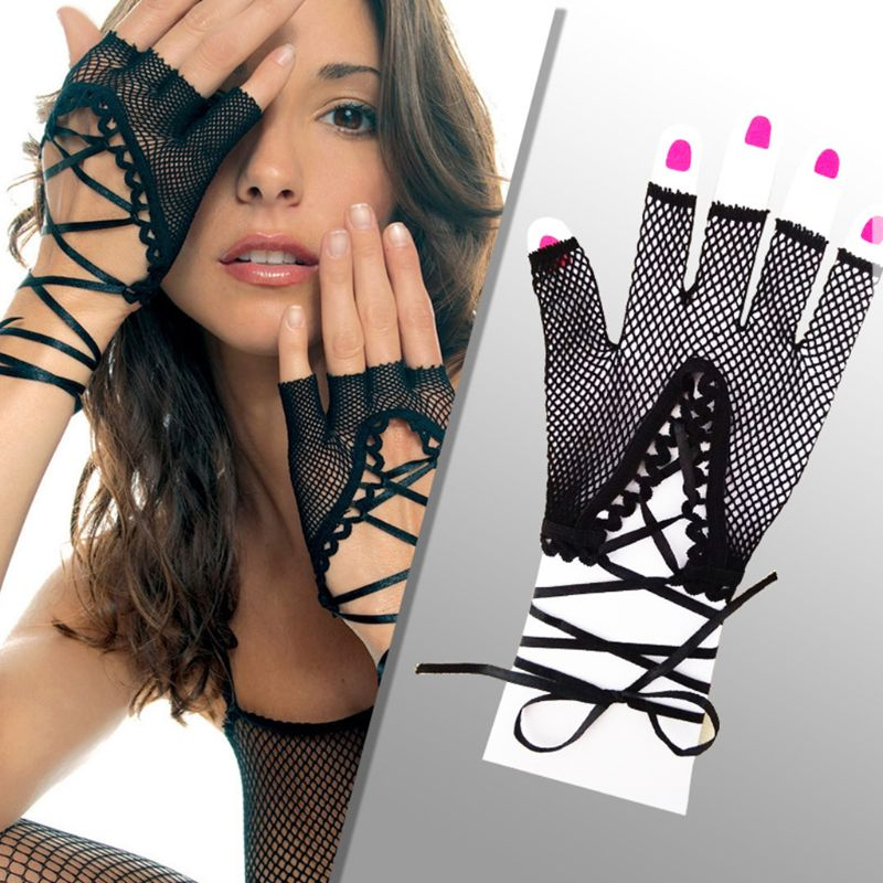 Fishnet Womens Wrist Punk Sexy Half Finger Gloves Solid Color Hollow Out Criss Cross Lace Up Bandage Mittens Party Costume
