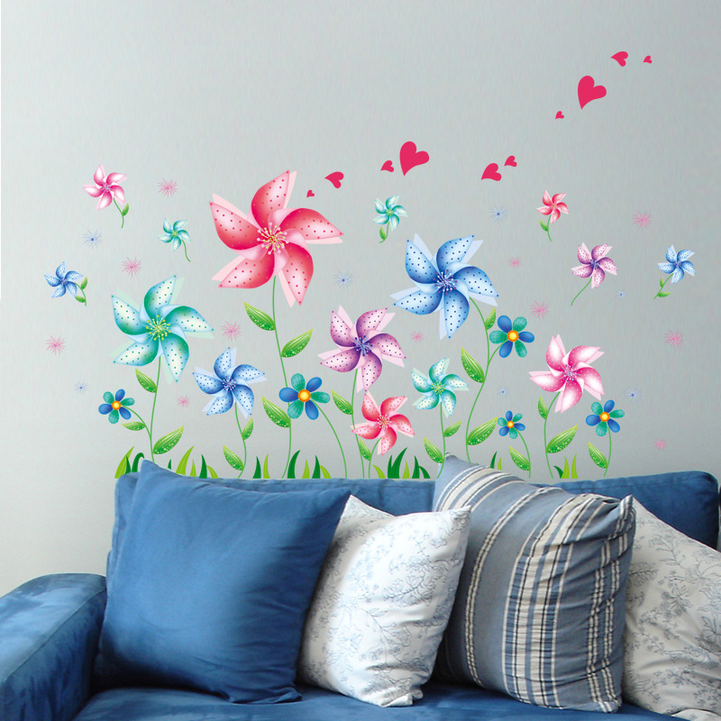 2016 New Creative Windmill Flower Wall Sticker For Baby Rooms Living Room Decoration Store Wallpaper Home Decor Decals Supplies. Bathroom Supply Store Promotion Shop for Promotional Bathroom
