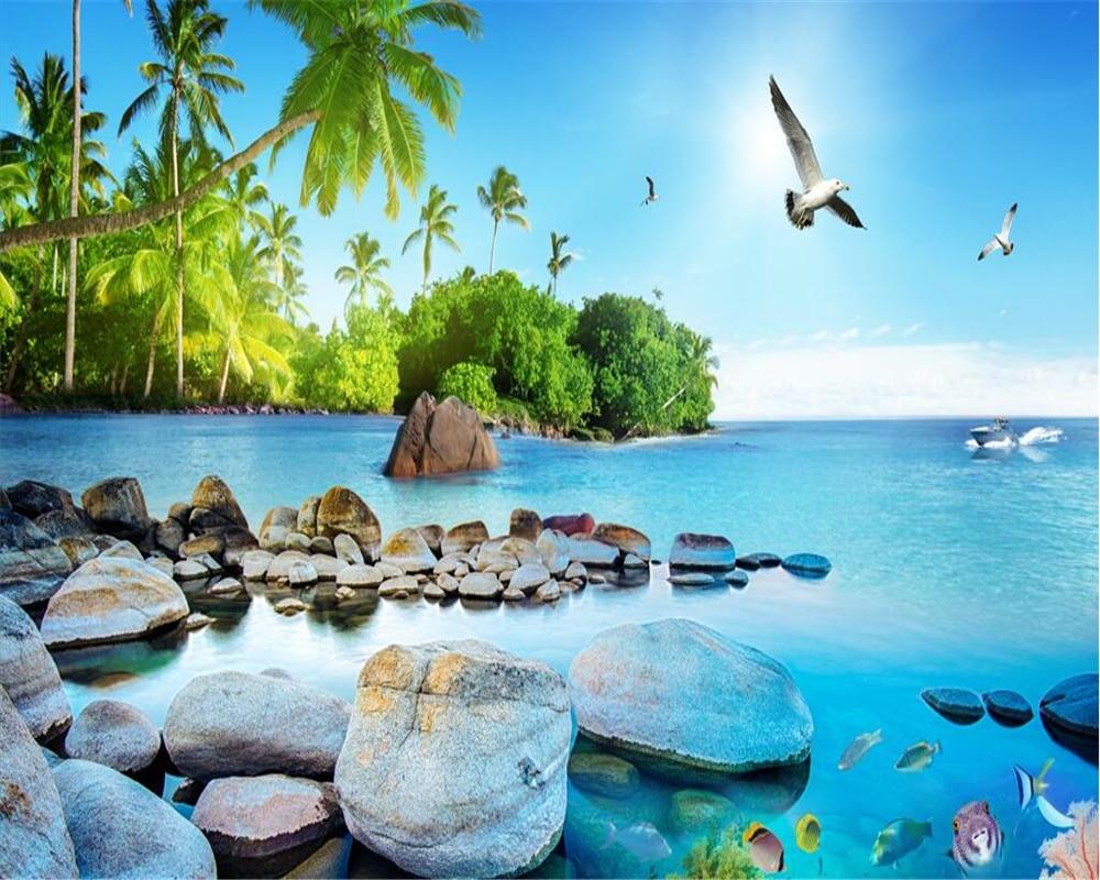 US $8 85 OFF Beibehang Retro Modis Wallpaper Sutra Indah 3D Pemandangan Laut Pulau TV Kamar Tidur Latar Belakang Dinding Papel De Parede 3D