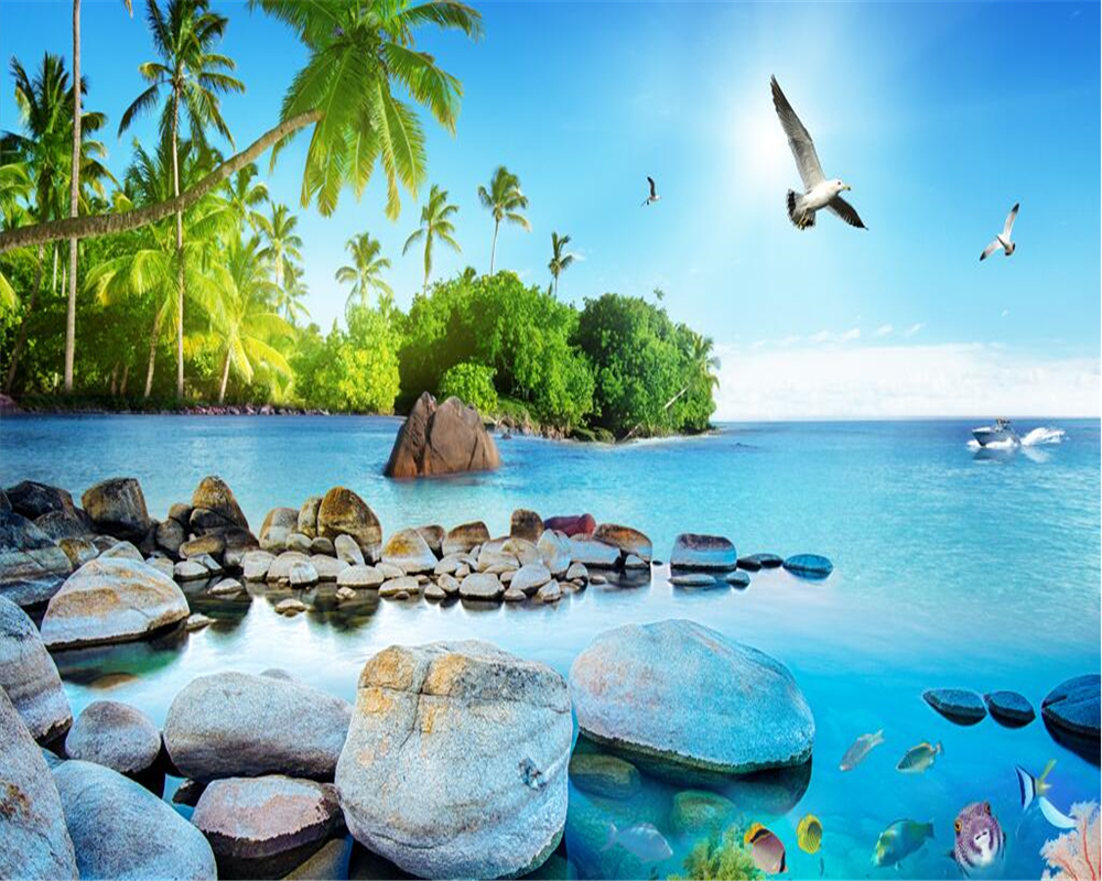 Beibehang Retro Fashionable Silk Wallpaper Beautiful 3d Sea View