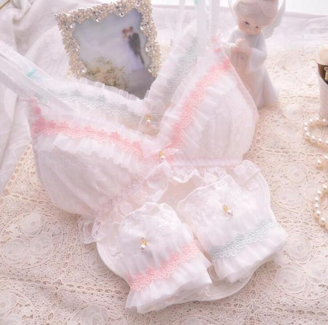 100% Real Photos Good Quality Lolita Sexy Cute Kawaii Bridal White Lace Padded Wireless wire free Seamless Bra Panties Set RB293