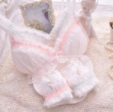 100% реальные фотографии хорошее качество Лолита сексуальный милый кавайный Свадебный белый кружевной мягкий без косточек бесшовный бюстгальтер трусики набор RB293