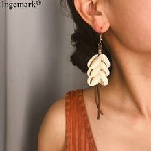 Ingemark Shell Long Tassel Pendant Dangle Earrings 2019 Women Beach Korean Velvet Natural Sea Drop Summer Jewelry