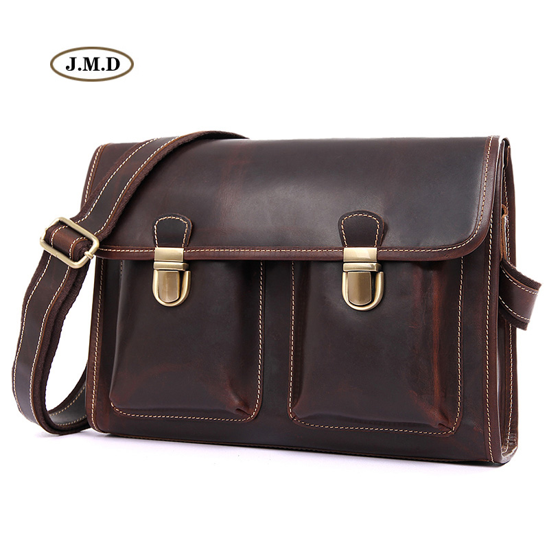 J.M.D Famous Brand Genuine Leather Men's Fashion Briefcase Messenger Bag for Business Men Shoulder Bag Crossbody Bag 1021C
