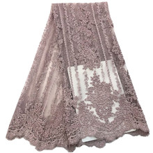 African Lace Fabric 2019 Embroidered Nigerian Laces Bridal High Quality with beads French Tulle Fo rof-1967