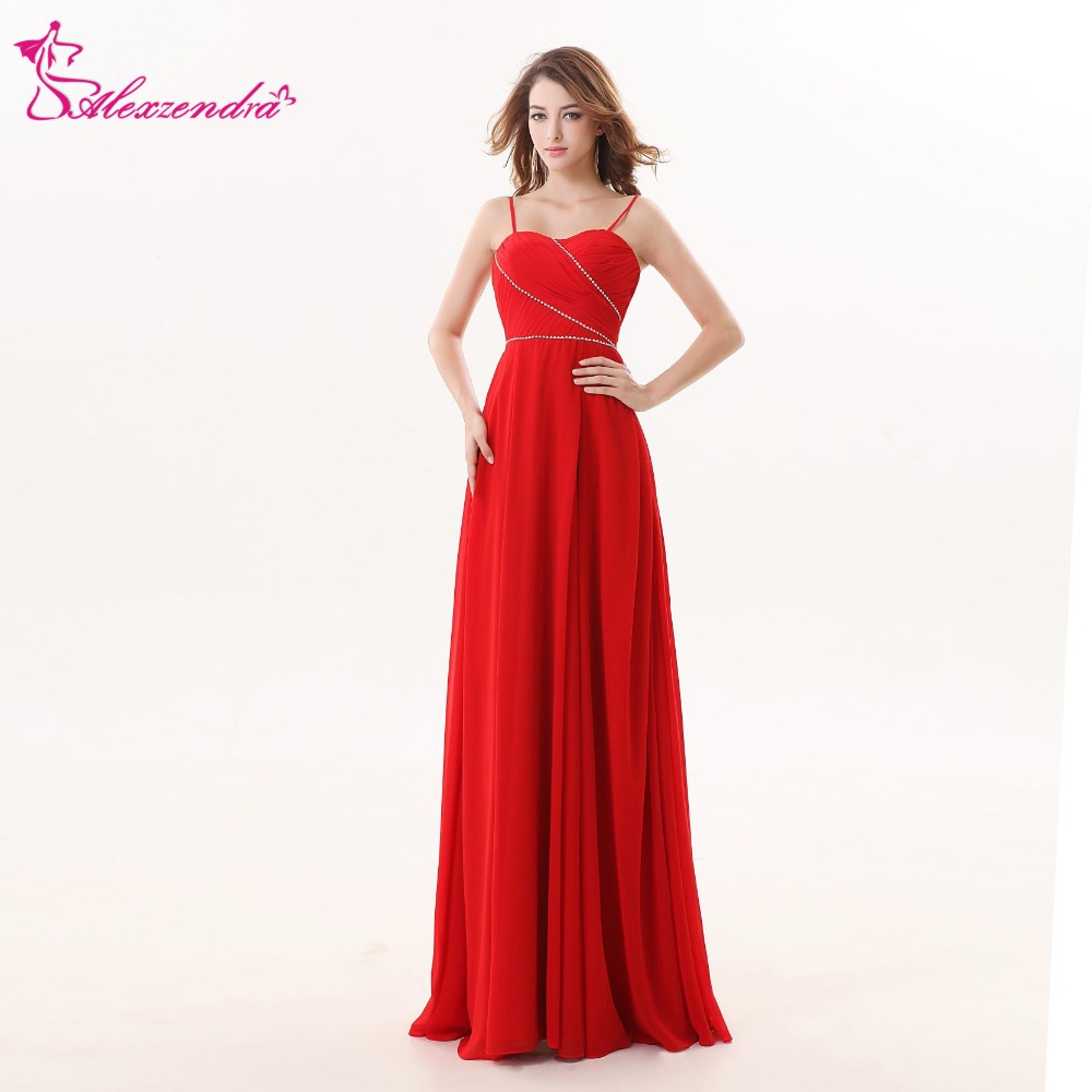 Alexzendra Red Long Chiffon   Bridesmaid     Dress   for Wedding Pleats Simple Party   Dresses   Plus Size