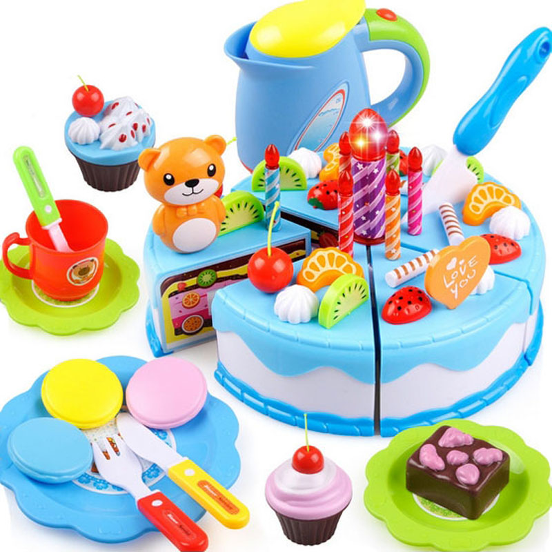 80pcs Birthday Cake DIY Model 3+ Children Kids Early Educational Classic Toy Pretend Play Kitchen Food Plastic Toy gift