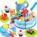 80 unids pastel de cumpleaños diy modelo 3 + niños de los niños temprano educativo clásico juguete pretend play cocina comida de juguete de plástico regalo
