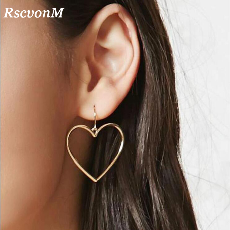 RscvonM 2018 New fashion Jewelry Accessories Bohemia Gold Color Heart Design Dangle Earring Best Gift For Lovers Girl Wholesale