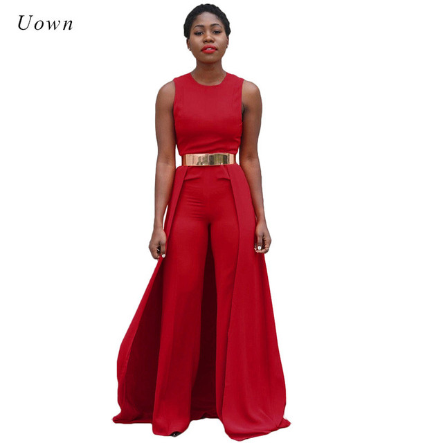 1bda3d2a073 Wide Leg Jumpsuits for Women 2018 Fashion Summer Sleeveless O Neck Loose  Elegant Evening Party Long
